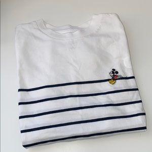 Uniqlo striped Mickey Mouse tee